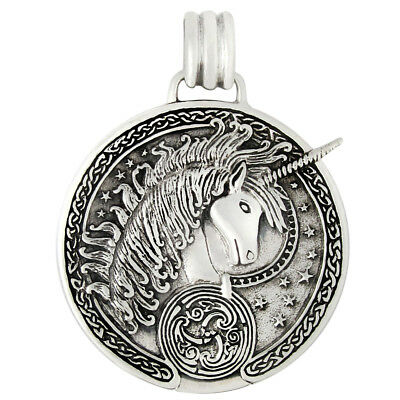 Sterling Silver Unicorn Celtic Knot Triskelle Knotwork Pendant - Equine Jewelry