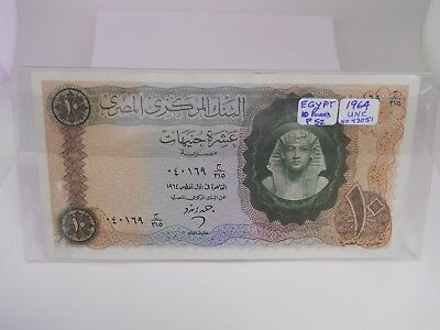 1964 Egypt 10 Pounds Paper Note Crisp Uncirculated Condition *Free Shipping*