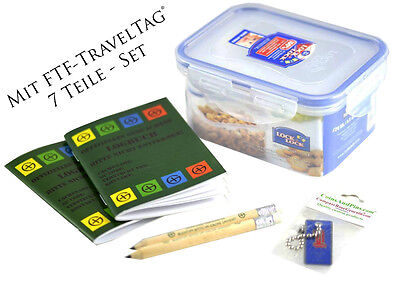 8 Piece Geocaching Set, Travel Bug, Container, Lock & Lock, Pencil, Logbooks