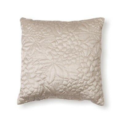 Stylemaster Twill and Birch Gardenia Quilted Toss Pillow, 41cm by 41cm , Beige
