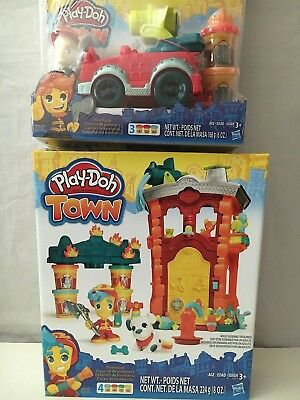 Play-Doh Town Firehouse & Play-Doh Town Fire Truck. Shipping Included