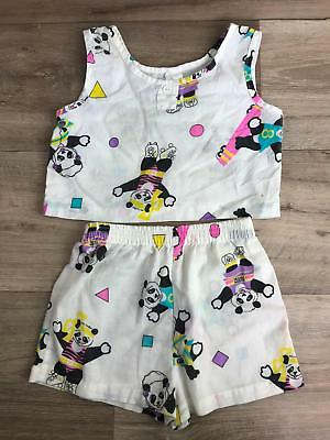 vintage Panda Girls White Size 6 crop Top shorts Set rolling skating dancing