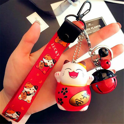 Hot Red Maneki Neko Fortune Lucky Beckoning Cat Bell Keyring Keychain Key Ring ^