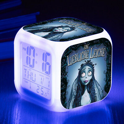 Corpse Bride 7 Color LED Night Light Alarm Clock Figures Watch Cosplay Kid Toy