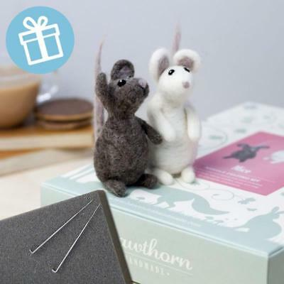 PAIR OF MICE Gift boxed needle felting kit with foam mat & instructions