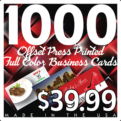 1000 Full Color Offset Printed Business Cards - (Using Your Artwork)