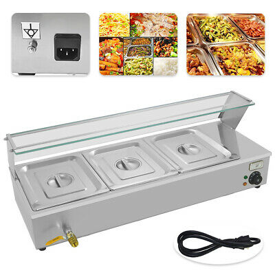 Commercial Food Warmer Holder & Lids 3 Pan Electric Bain Marie Updated