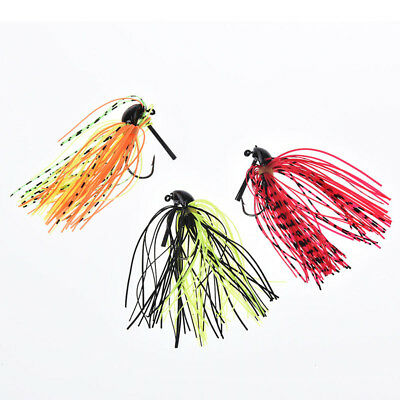 1X fishing jig hook attached beard jig fishing silicone skirt with lead hookBRIL