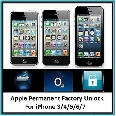 Official O2 Iphone 3 / 4 / 5 / 6 / 7 Unlocking Service