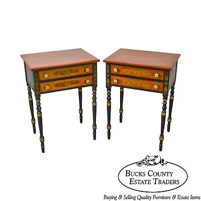 Hitchcock Pair of Federal Style Stenciled 2 Drawer Nightstands