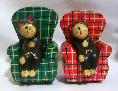 2 Adorable Folk Art Hand Carved Kitty Cat in Chair Indonesia