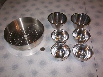 7 Pc Lot~Chef~Stainless Steel~Spice Sauce Condiment Bowls Cups~Strainer Insert