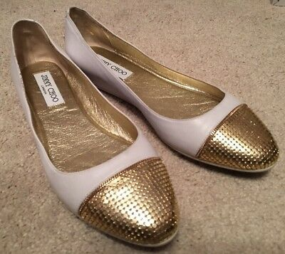 87355834d503 New  565 Jimmy Choo White Leather Waine Gold Metal Cap Toe Ballet Flat Shoe  38.5