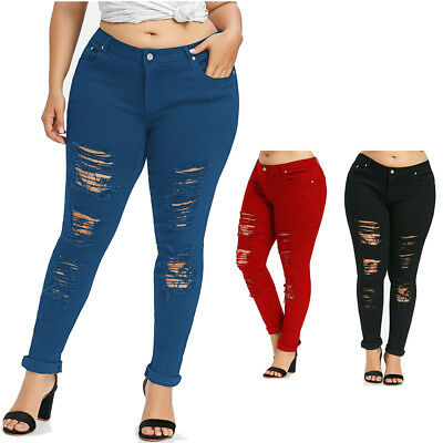 Casual Fashion Lady Skinny Jeans Plus Size Five Pockets Distressed Long Pants