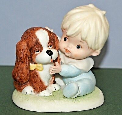 Homco Figurine boy child with puppy dog 1424 ceramic 3.25 inches tall pre-owned