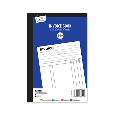 A5 Invoice Book With Carbon Sheets 1-80 Numbered Pages Full Size