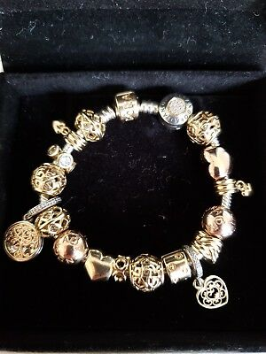 Pandora Bracelet With 18 Pcs Charms Gold Two Tone And Rose 3