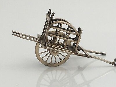 Antique Chinese Solid Silver Miniature  Wheelbarrow Moves (R2993A)