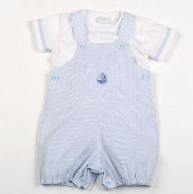 fc3912e7334 Baby Boy Blue White Stripe Nautical Dungarees Traditional Spanish Outfit  Romper