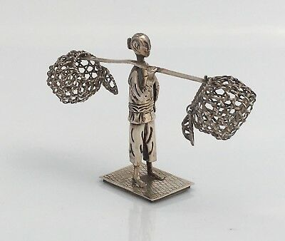 Antique Chinese Solid Silver Miniature Fishing Man(R2933C)