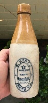Scarce Perth Wa Ginger Beer Bottle W.hynes Star Trade Mark Bendigo Pottery