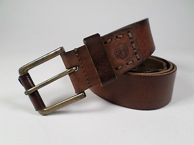 08c48dab3be TIMBERLAND LEATHER BELT Roller Buckle Stitched Distressed Brown 38 ...