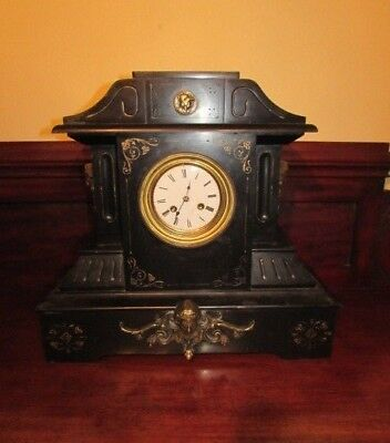 Large Antique Victorian black slate and marble mantel clock