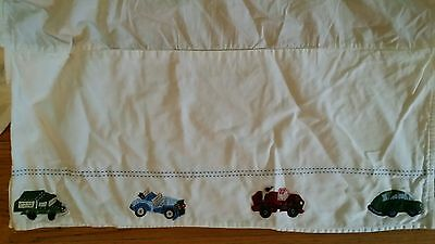 Pottery Barn Kids CARS Baby Crib Skirt Dust Ruffle Boy WHITE EMBROIDERED Bed