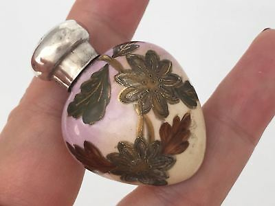 1891 Victorian Solid Silver Mounted Ceramic Heart Scent Bottle  (R2823)