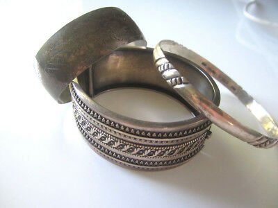 antique vintage sterling silver taxco victorian cuff hinged bracelet lot