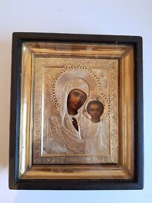 Rare Russian Icon Mother God Kazan Gold Plated Relic 19C Antique