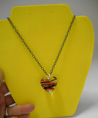 """Hand-Crafted~Red/Black/Clear Glass Heart Pendant on 22"""" Blk Metal Chain Necklace"""