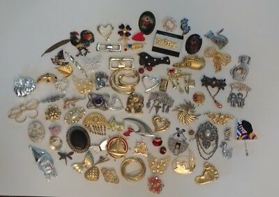 Large Vintage To Now Brooch Pin Hat Pin Lot Of 75 Pieces