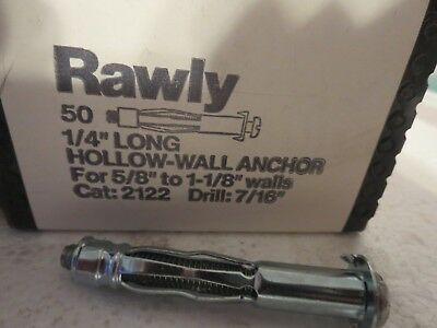 rawly 1/4 LONG HOLLOW-WALL ANCHOR CAT:2122 50 COUNT