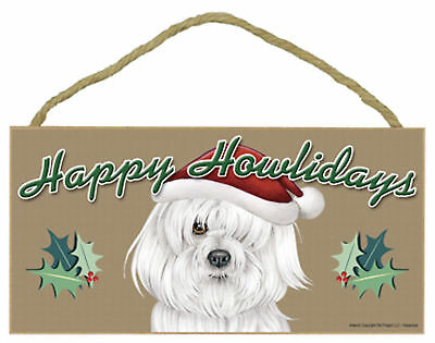 Havanese Happy Howlidays Santa Hat Wood Funny Christmas Dog Sign Made in USA