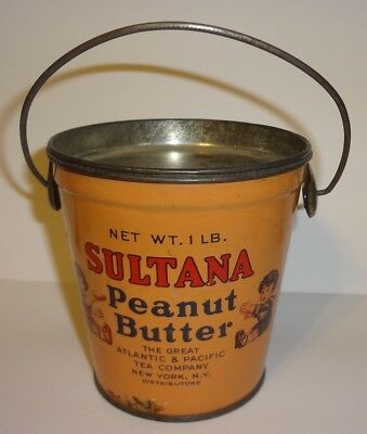 Antique SULTANA PEANUT BUTTER Tin Pail w/Handle