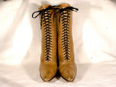 Vintage Edwardian Period Taupe Leather Lace Up Boots EU37