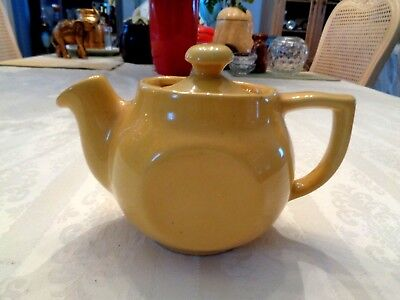 Vintage Little Yellow One Cup Pottery Tea Pot Marked Usa