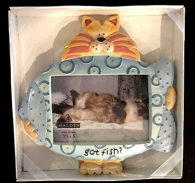 Lot of Four Cat and Dog Themed Picture Frames Russ Whimsi Clay Malden Got Fish?