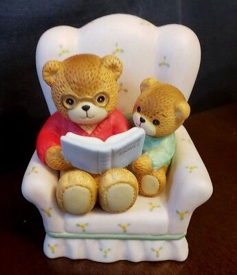 Cute 1980's lucy and me, Lucy Rigg teddy bear figurine, Papa Bear & son reading
