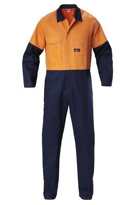 Hard Yakka HI-VISIBILITY TWO TONE COTTON DRILL COVERALL;Orange/Navy