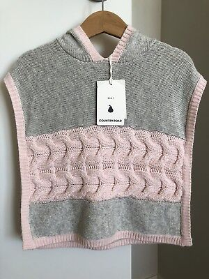 Country Road Baby Girl Jumper Poncho. Size:M (12-18 Mths) RRP:$69.95. BNWT