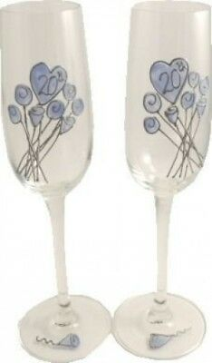 20th Wedding China Anniversary Pair of Champagne Flutes Flower. Dreamair