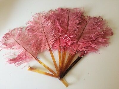 Vintage Victorian Pink Feather Hand Fan