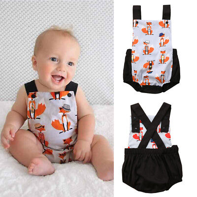 AU Stock Toddler Baby Girl Boys Kids Fox Romper Jumpsuit Bodysuit Clothes Outfit