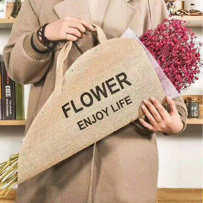 Vintage Jute Floral Decorative Flower Wrapping Bag Fabric Packaging Florals