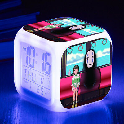 Spirited Away 7 Color LED Night Light Alarm Clock Figures Watch kid Gift Toy