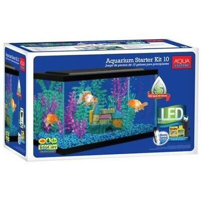 Aqua Culture 10 Gallon Aquarium Starter Kit with LED Rectangular Tank Filter NEW