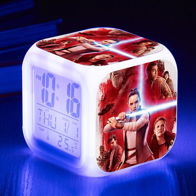 Star Wars 7 Color LED Night Light Alarm Clock Figures Watch Cosplay Kid Toy