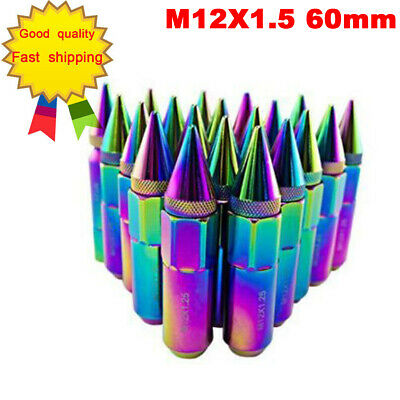 New 20 Aluminum Spike Tuner Extended Lug Nuts for Rims M12X1.5 60mm Neo Chrome